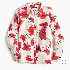 J crew poppy print silk shirt, sz 6, NWT